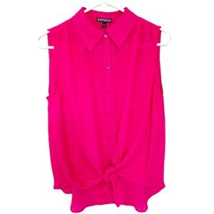 Express Top Sleeveless Dressy Pink With Tie Small